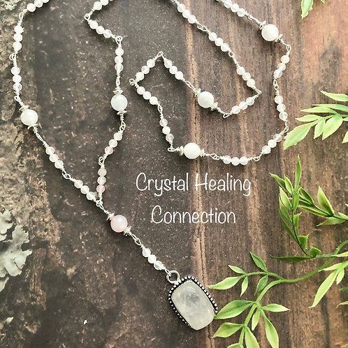 Rose Quartz Long Beaded Necklace