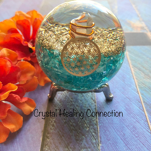 Aquamarine Orgonite Sphere