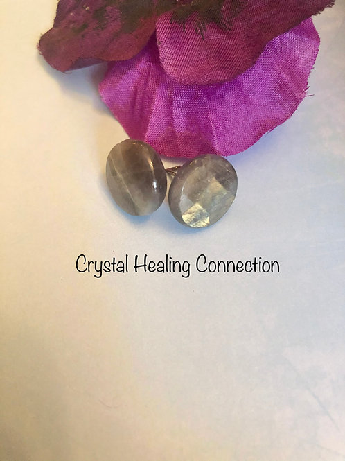 Faceted Labradorite Round Earrings