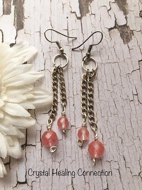 Cherry Quartz Chain Earrings