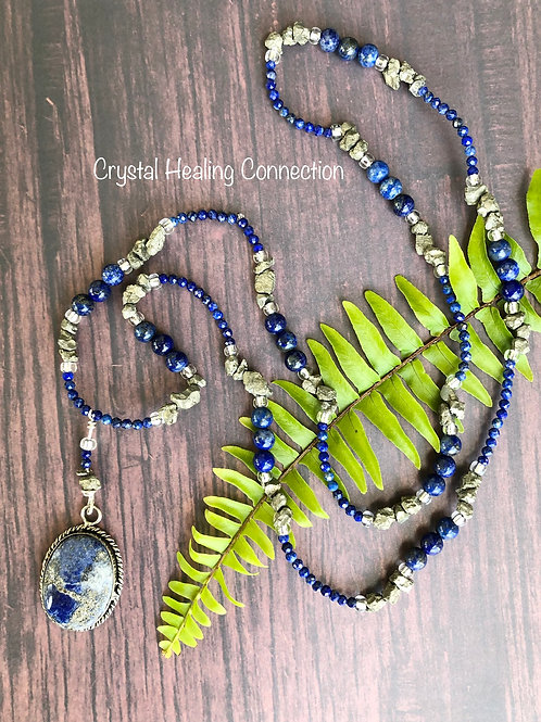 Lapis Lazuli and Pyrite Long Beaded Necklace