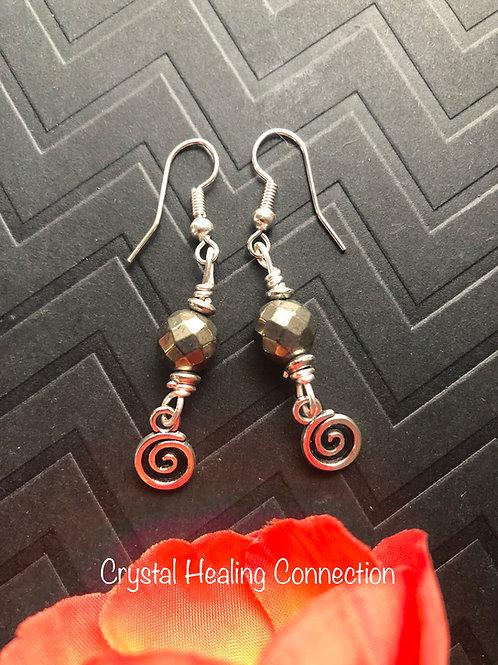Pyrite Swirl Earrings