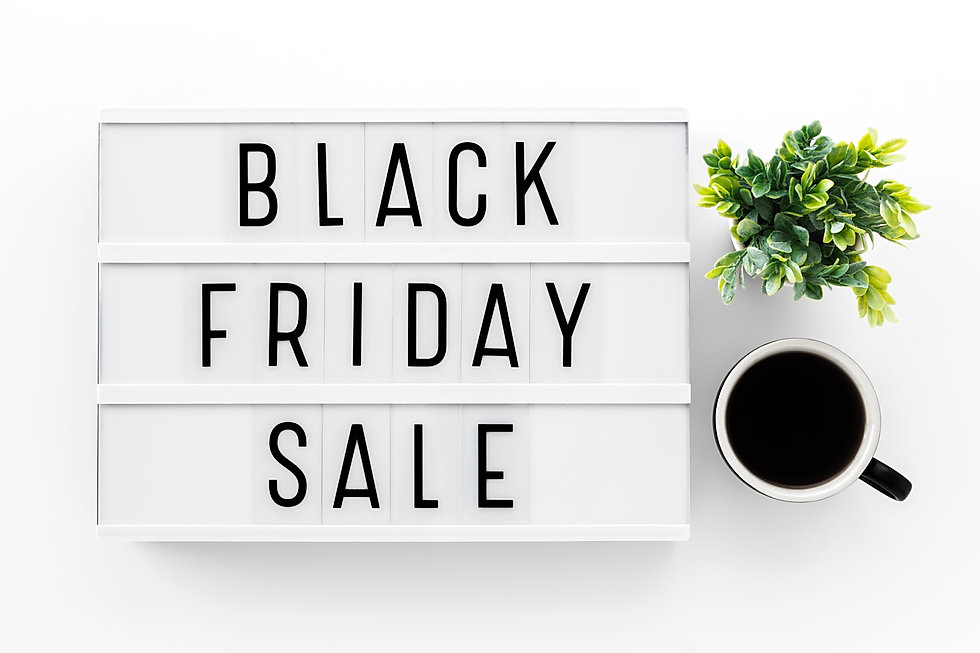 Black friday sale word on lightbox on wh