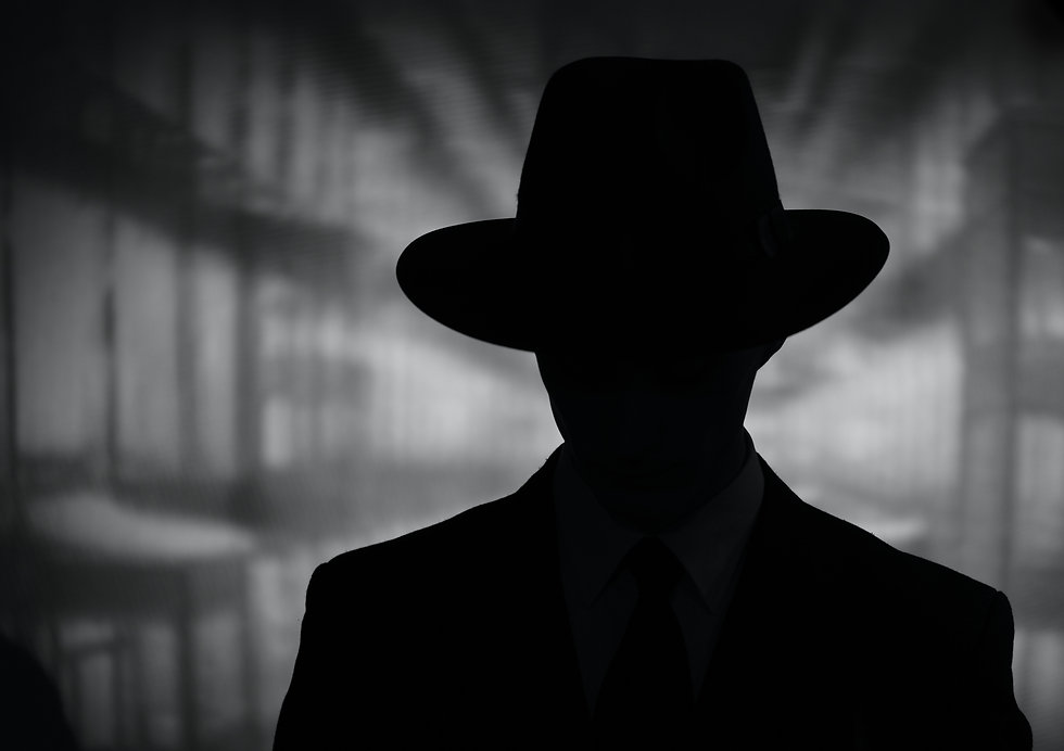Silhouette of a mysterious man in a vint