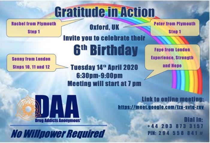 GRATITUDE IN ACTION (Oxford): 6th Anniversary