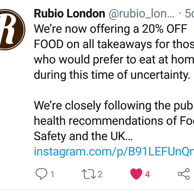Rublio have sadly now had to close. Food/the offer no longer available
