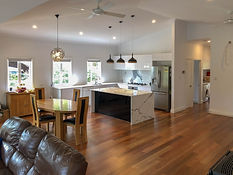 open plan living with timber flooring an