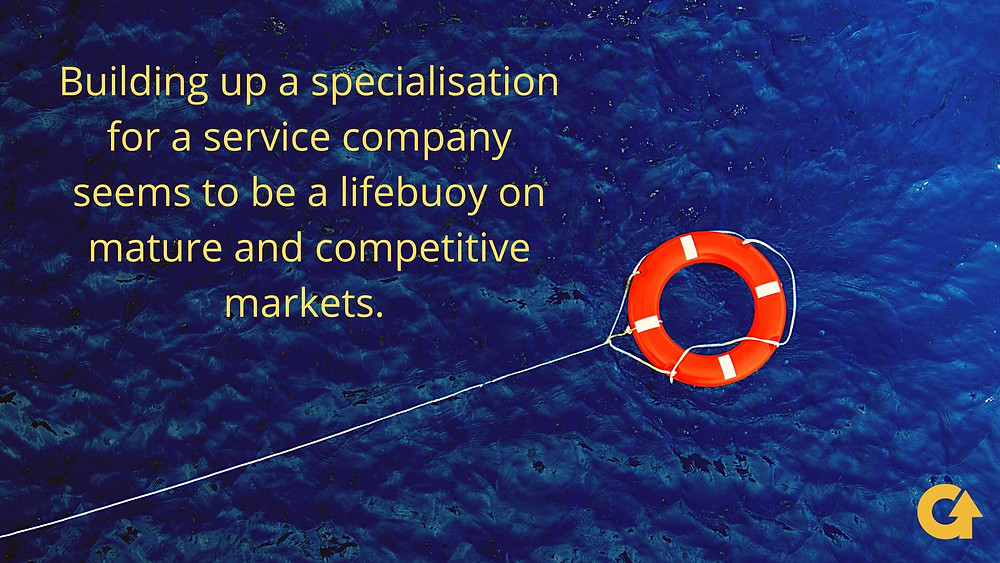 Building up a specialisation for your service company seems to be lifebuoy on mature and competitive markets.