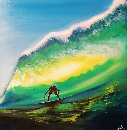 """peinture à l'huile """"surfeur"""" type contemporain"""