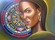 Femme au Mandala technique mixte portrait en pastels secs et mandalas à la peinture à l'huile