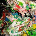 peinture fluide contemporaine en acrylique diluée et travaillée au séchoir à cheveux