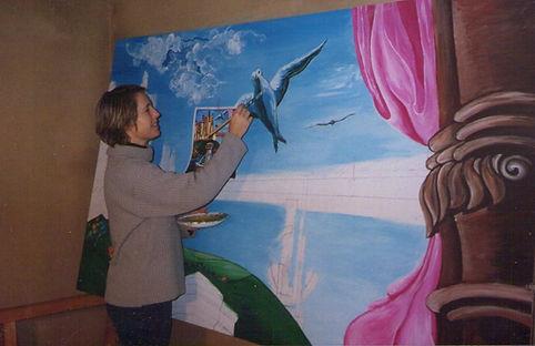 realisation d'une fresque murale pour une Agence Immobilièrele en acrylique