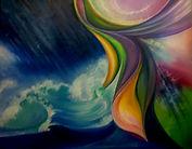 """peinture à l'huile contemporaine """"tempête en mer"""""""