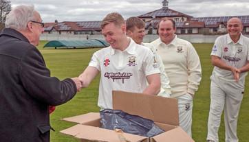 2018 - 150 years celebration - Chairman Malcolm Pratt presents 2nd XI captain Gary Embleton with his cap