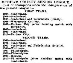1910 - 1st XI Durham Senior League winners since 1903