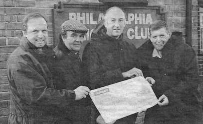 1997 - Adam Walter, Colin Bertram, Dave Carr and Kenny Robinson present a cheque for £1000 towards the meningitis fund