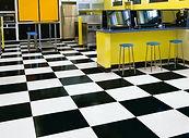 Polished vinyl flooring