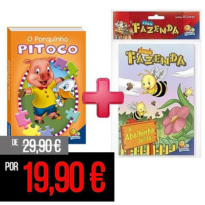 Animais da fazenda quebra-cabeças: O porquinho Pitoco + Kit c/10 Vida na Fazenda