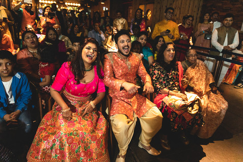 Intimate sangeet ceremony at a bar in Pune