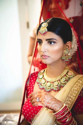 Bridal portrait taken while getting ready