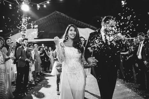Post wedding ceremony bride and groom