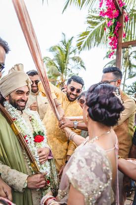 Entrance of groom at Indian destination wedding