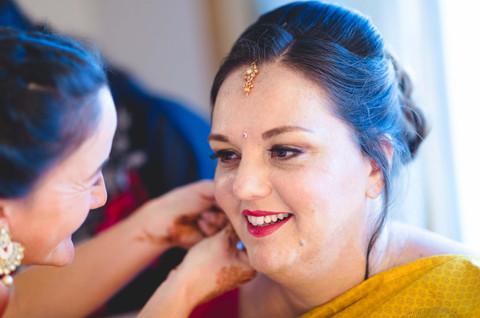 bride getting ready at Taj Lands End