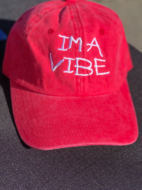 "Red ""IM A VIBE"" Dad Hat"