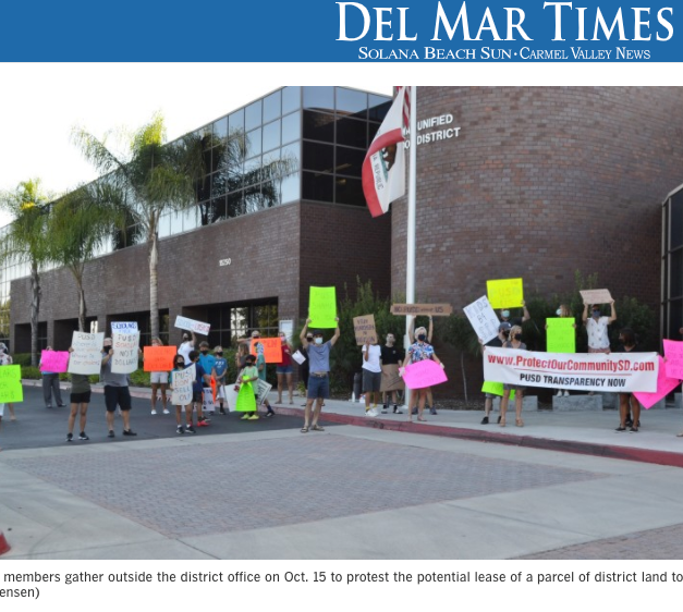 Del Mar Times - Residents Rally Outside PUSD over Potential Costco Lease