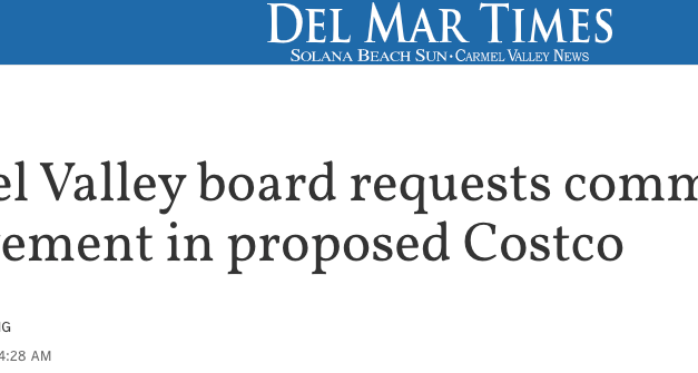 Carmel Valley Board requests community involvement in proposed Costco.