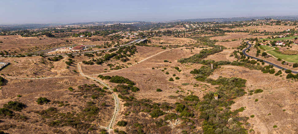 Aerial proposed site to left