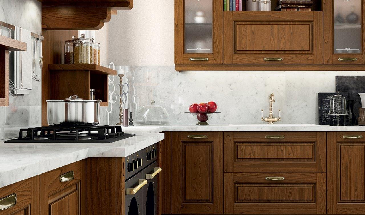 Cucina Con Piano In Marmo Di Carrara.Cucina Con Anta A Telaio In Massello Di Legno E Piano Di