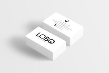 Criação de logo e cartão de visita. Cliente: Lobo Cowork.