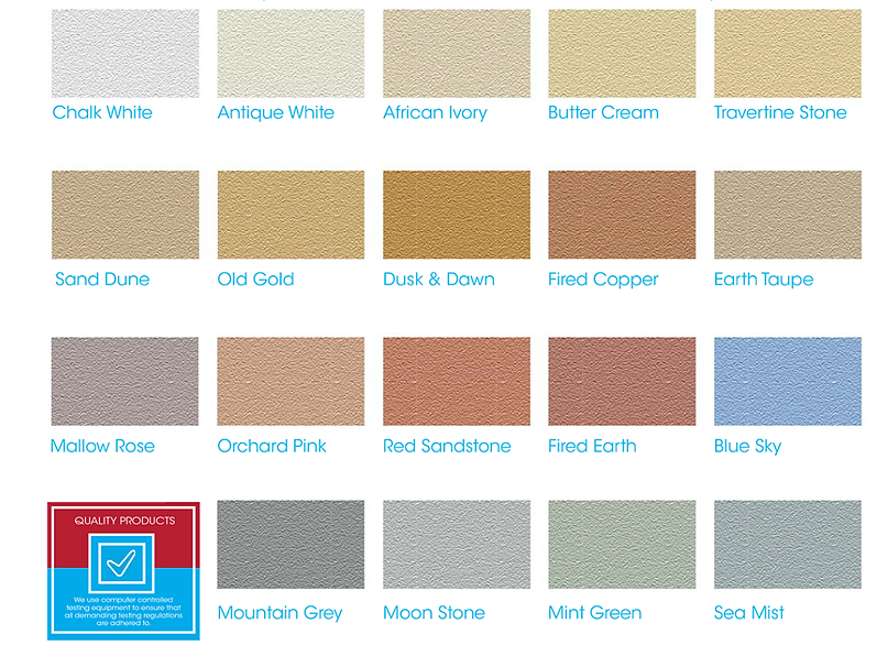 Weatherproof textured coatings have a wide colour range to choose from