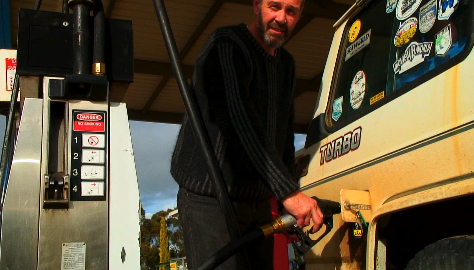 Stephen at the diesel pump