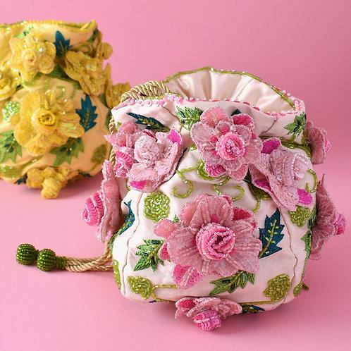 Pink Sequined Rose Handbag