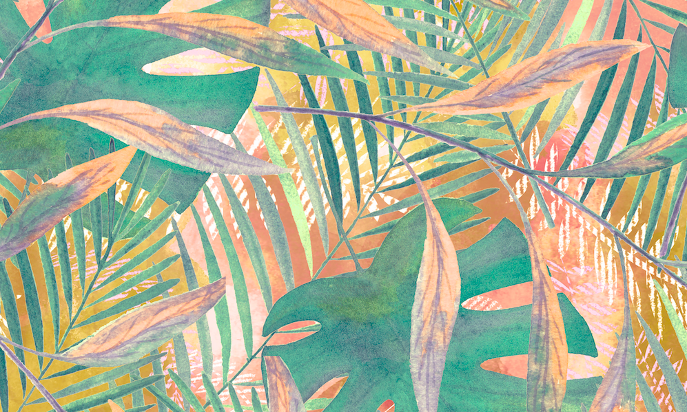 489 peach monstera abstract