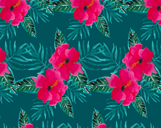 463 pink hibiscus on teal
