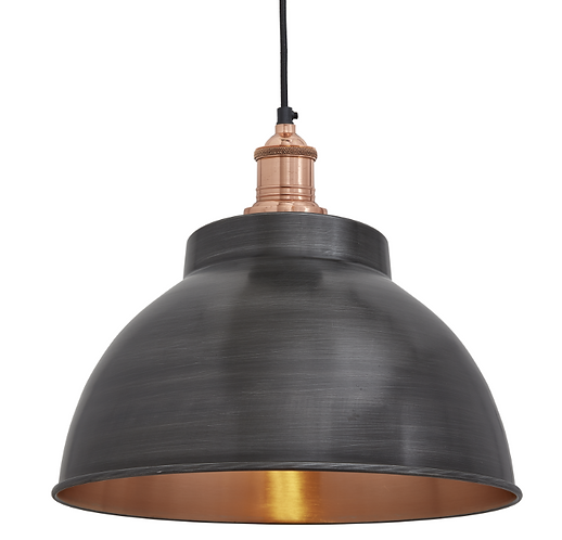 Brooklyn Dome Pendant - 13 Inch - Pewter & Copper, by Industville