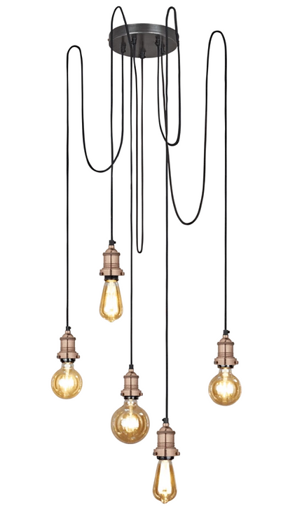 Brooklyn 5 Wire Pendant – Copper, by Industville