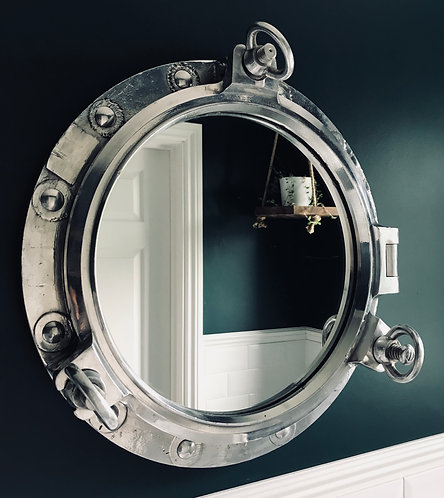 "14"" Original Three Key Opening Porthole Mirror"