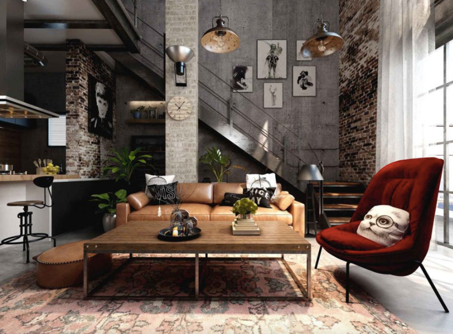 Industrial style lounge - Pinterest Image