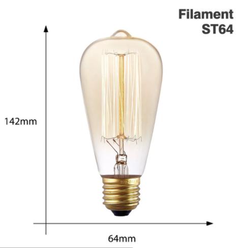 Vintage Edison Bulb E27 220V 40W - Sq Filament