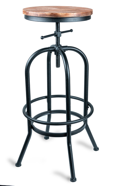 Our Stunning Black Powder Coated Steel Bar Stool With Wooden Seat Looks Great And Even Allows For Variable Height Its Striking Thread Mechanism