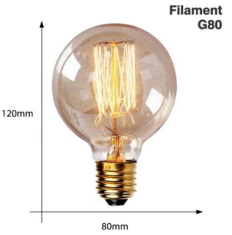 Vintage Edison Bulb E27 220V 40W - Round Filament