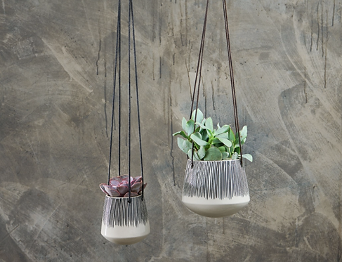Ceramic Hanging Planter - Lines