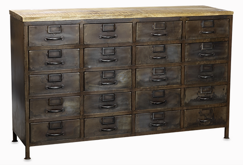 *Available end April* Iron and Mango Wood 20 Drawer Cabinet