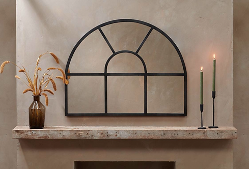 Iron Overmantle Arch Mirror