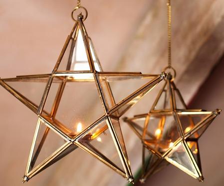 Antique Brass Glass Star - Due in Dec 17