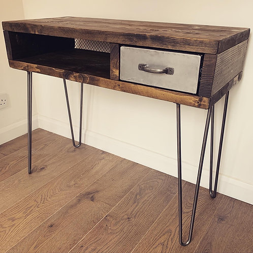 Industrial Chic Desk with Steel and Mesh Detailing